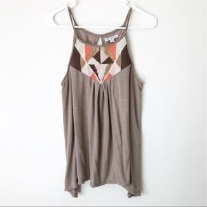 American Eagle Embroidered Babydoll Tank Top